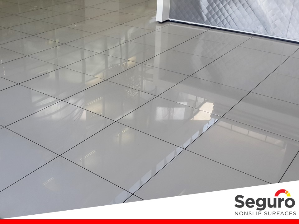 Anti-slip on polished porcelain tile.