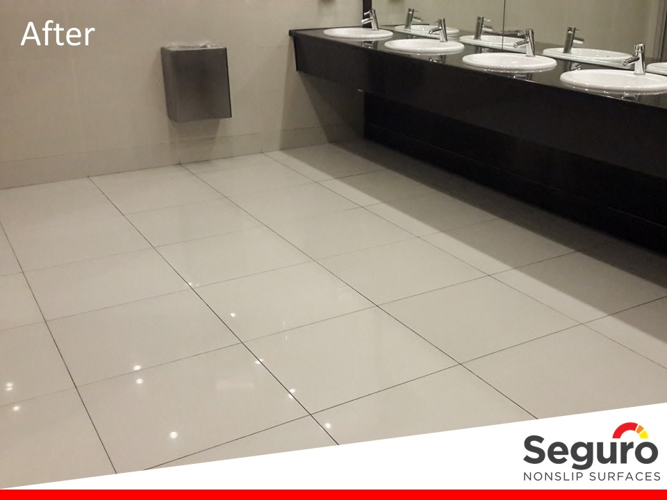 Anti-slip coating in restrooms