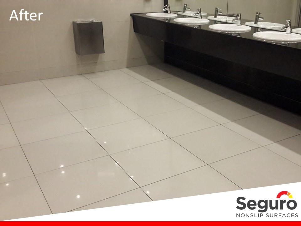 Anti-slip coating in restrooms